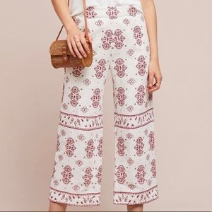 Anthro Ettitwa Petite Embroidered White Pants